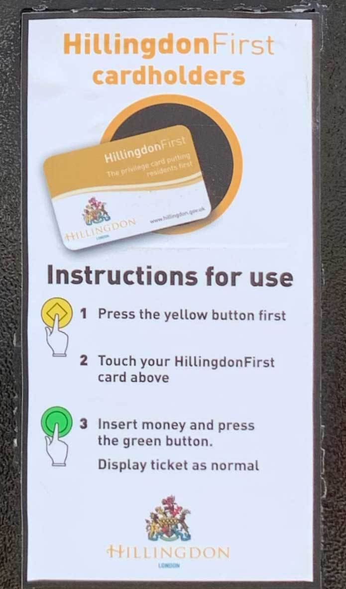 Hillingdon first card usage instructions